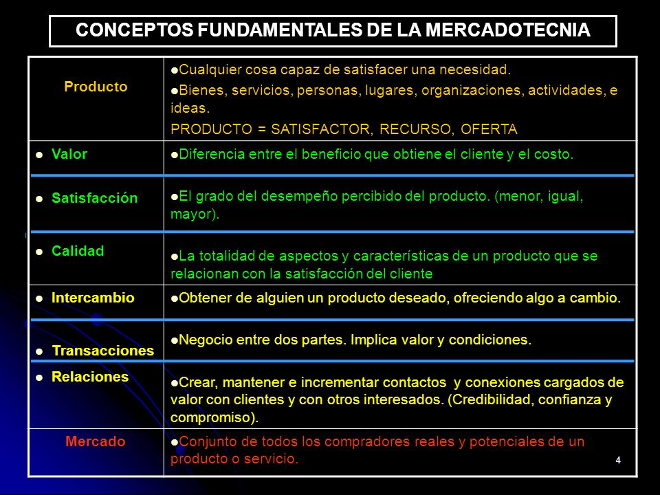 CONCEPTOS FUNDAMENTALES DE LA MERCADOTECNIA