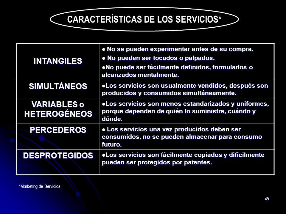 CARACTERÍSTICAS DE LOS SERVICIOS* VARIABLES o HETEROGÉNEOS