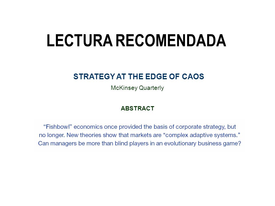 STRATEGY AT THE EDGE OF CAOS