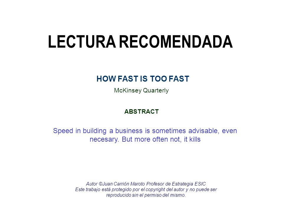 LECTURA RECOMENDADA HOW FAST IS TOO FAST