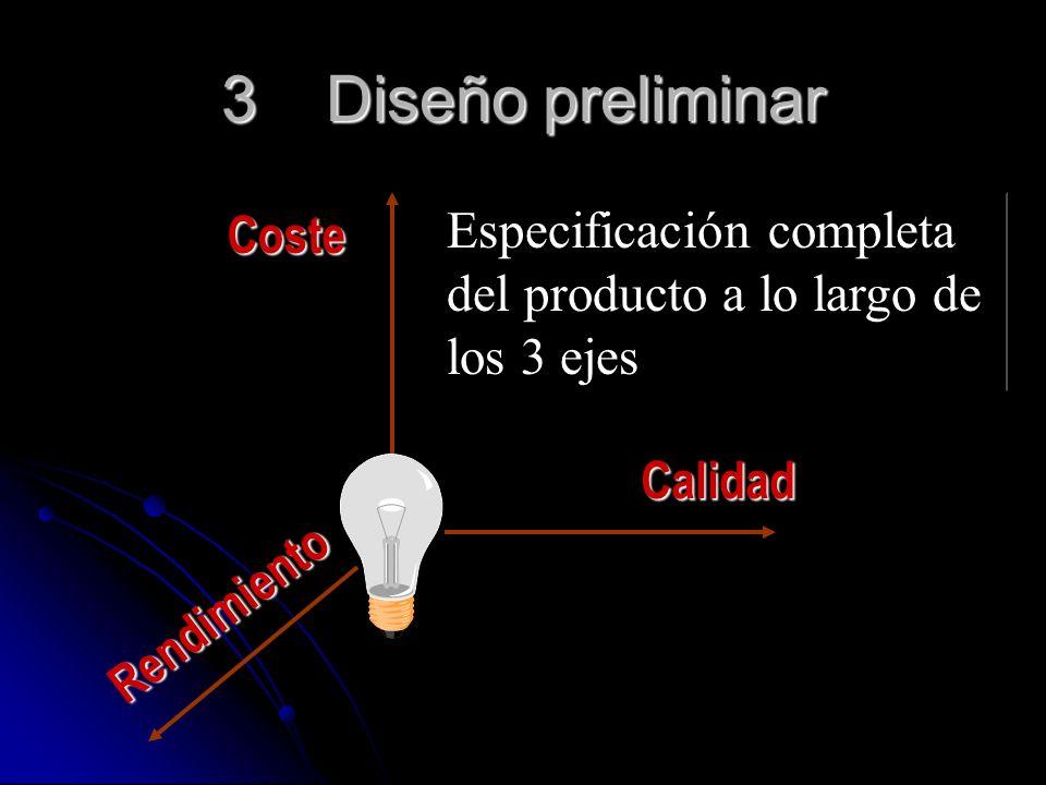 3 Diseño preliminar Especificación completa Coste