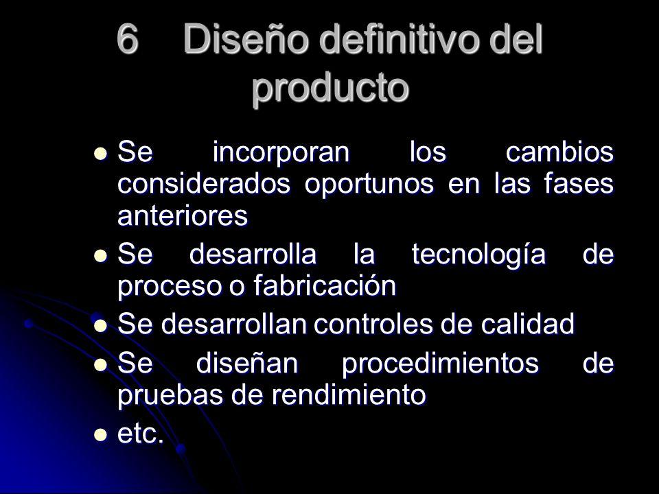 6 Diseño definitivo del producto