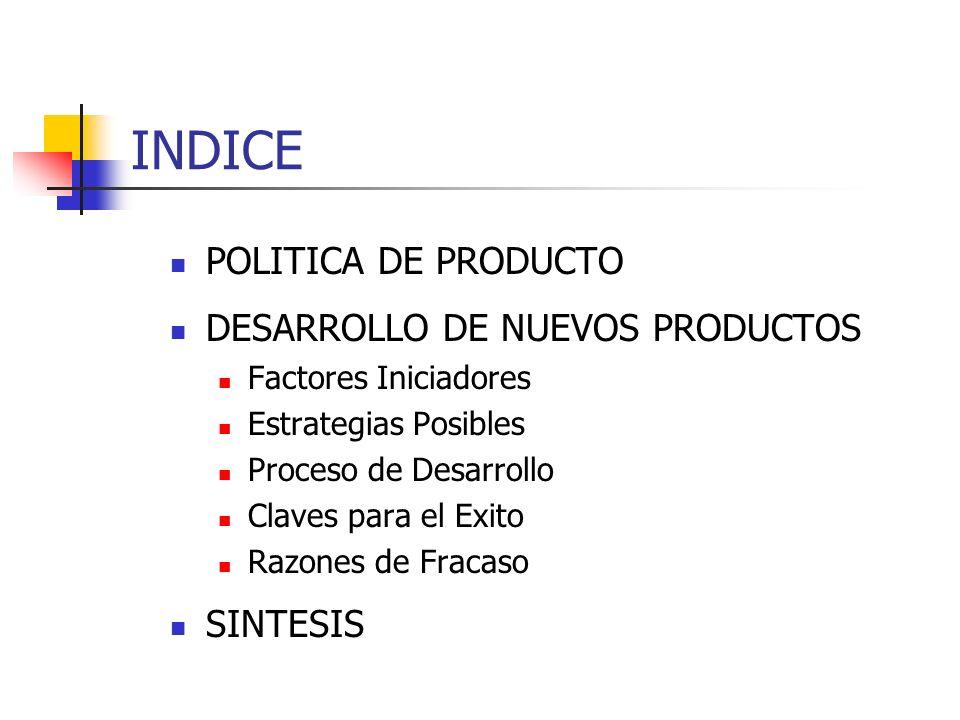 INDICE POLITICA DE PRODUCTO DESARROLLO DE NUEVOS PRODUCTOS SINTESIS