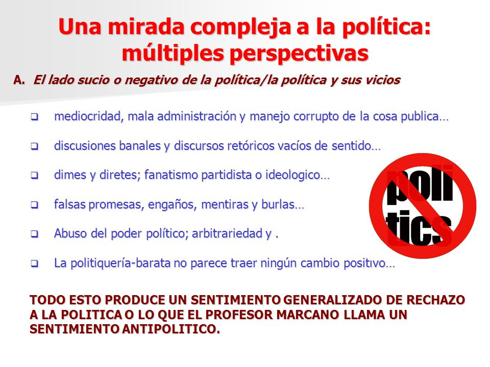 Una mirada compleja a la política: múltiples perspectivas