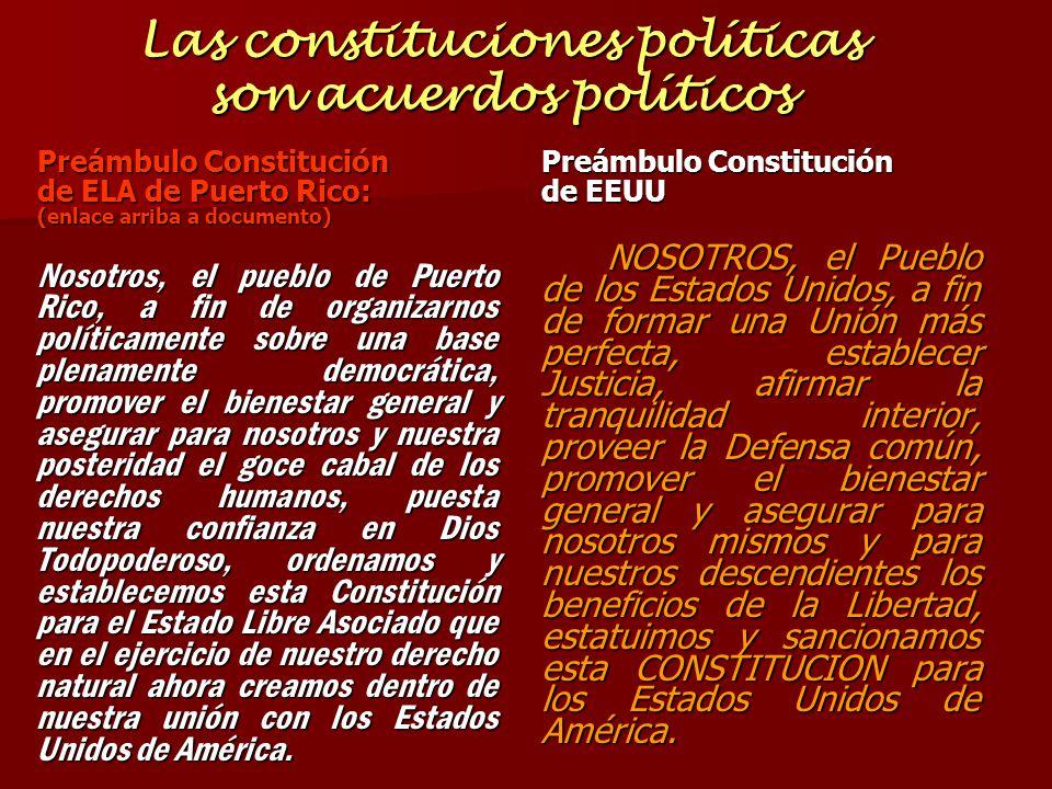 Las constituciones políticas son acuerdos políticos