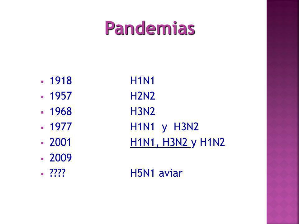 Pandemias 1918 H1N1 1957 H2N2 1968 H3N2 1977 H1N1 y H3N2