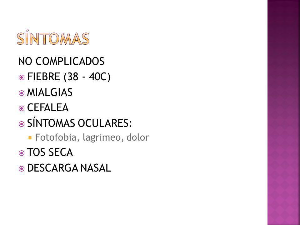 Síntomas NO COMPLICADOS FIEBRE (38 - 40C) MIALGIAS CEFALEA