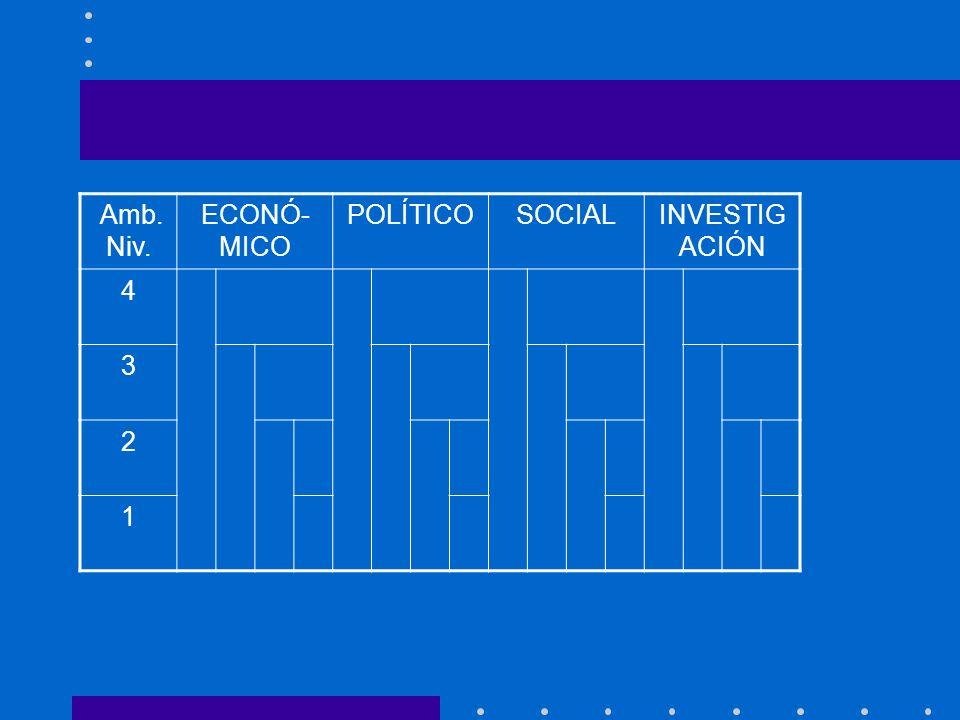 Amb. Niv. ECONÓ-MICO POLÍTICO SOCIAL INVESTIGACIÓN 4 3 2 1