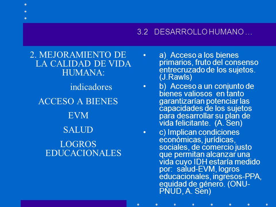 2. MEJORAMIENTO DE LA CALIDAD DE VIDA HUMANA: