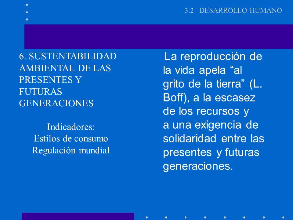 3.2 DESARROLLO HUMANO La reproducción de la vida apela al grito de la tierra (L. Boff), a la escasez de los recursos y.