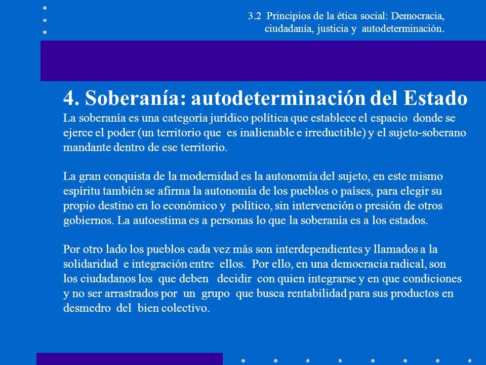 4. Soberanía: autodeterminación del Estado