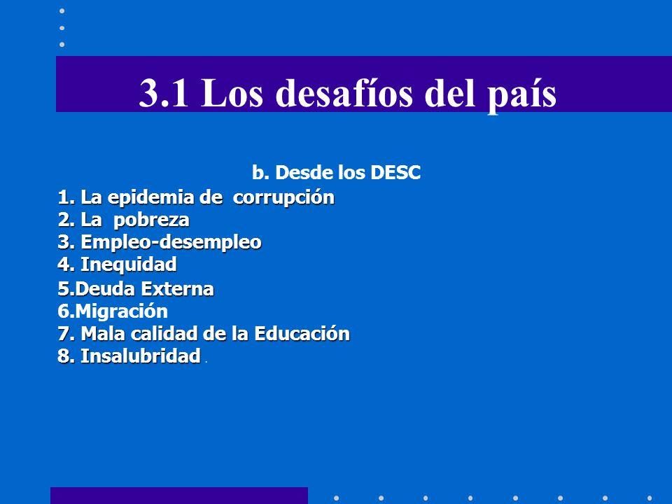 3.1 Los desafíos del país b. Desde los DESC