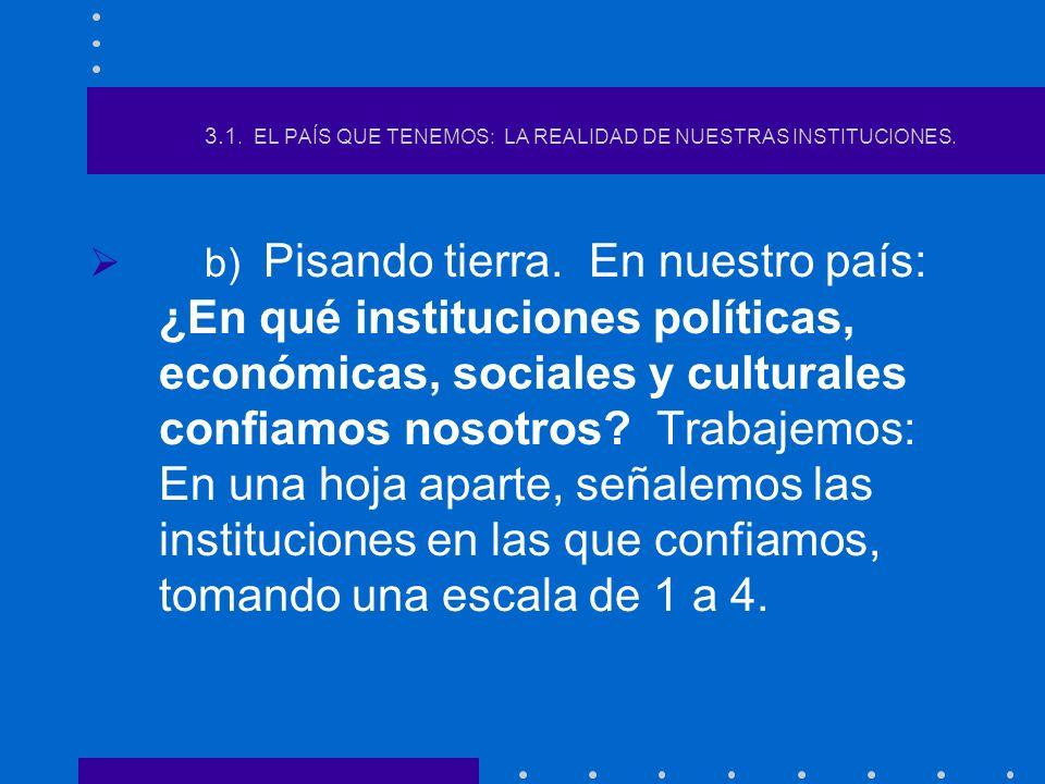 3.1. EL PAÍS QUE TENEMOS: LA REALIDAD DE NUESTRAS INSTITUCIONES.