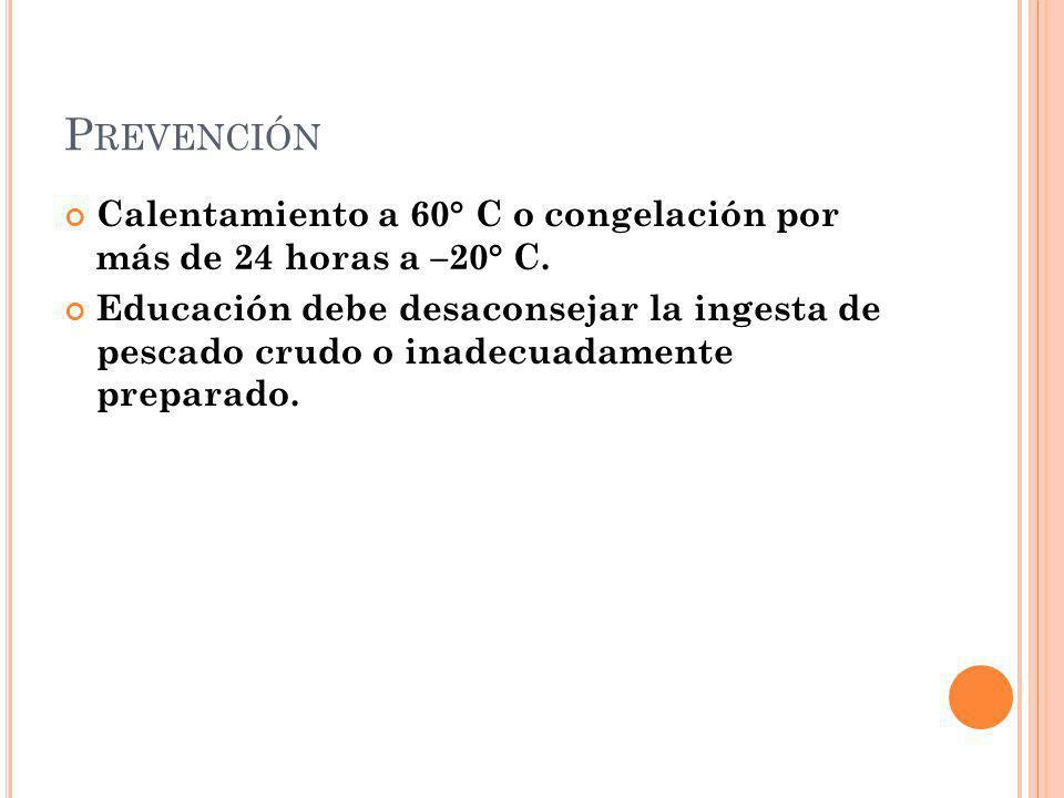 Prevención Calentamiento a 60° C o congelación por más de 24 horas a –20° C.