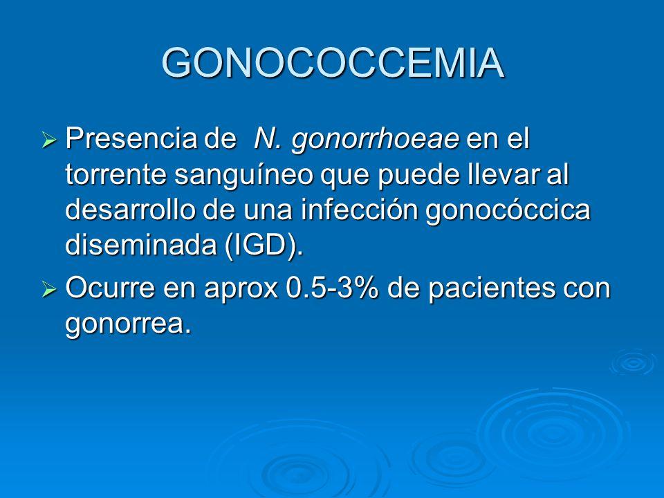 GONOCOCCEMIA Presencia de N. gonorrhoeae en el torrente sanguíneo que puede llevar al desarrollo de una infección gonocóccica diseminada (IGD).