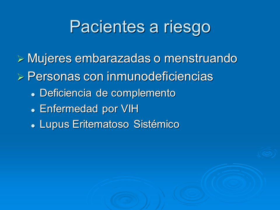 Pacientes a riesgo Mujeres embarazadas o menstruando
