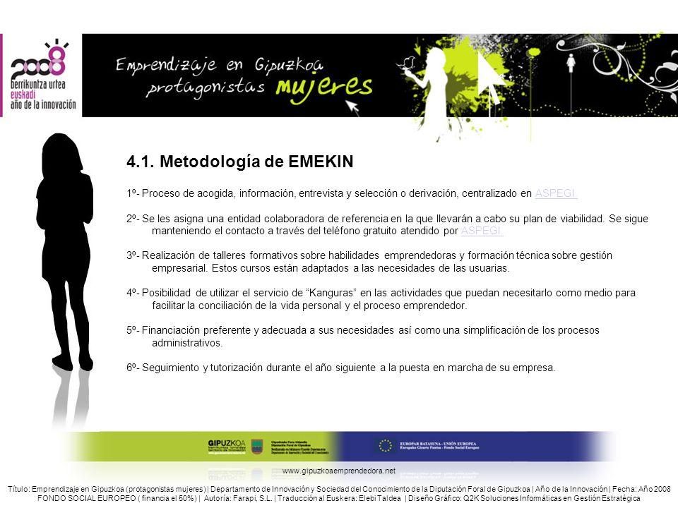 4.1. Metodología de EMEKIN 1º- Proceso de acogida, información, entrevista y selección o derivación, centralizado en ASPEGI.
