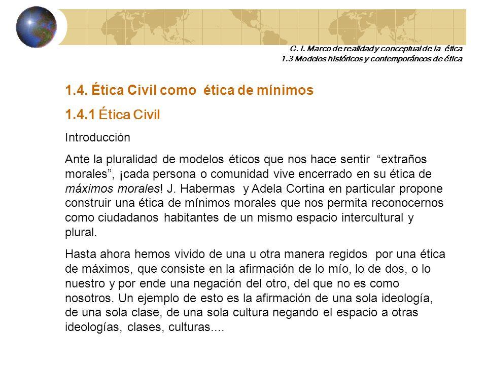1.4. Ética Civil como ética de mínimos 1.4.1 Ética Civil