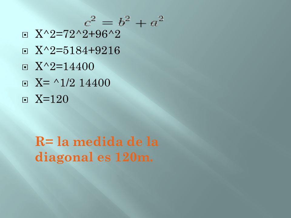R= la medida de la diagonal es 120m.