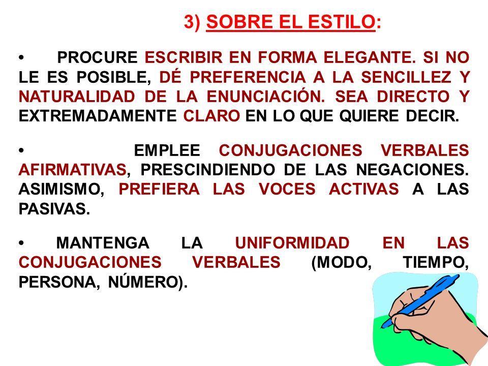 3) SOBRE EL ESTILO: