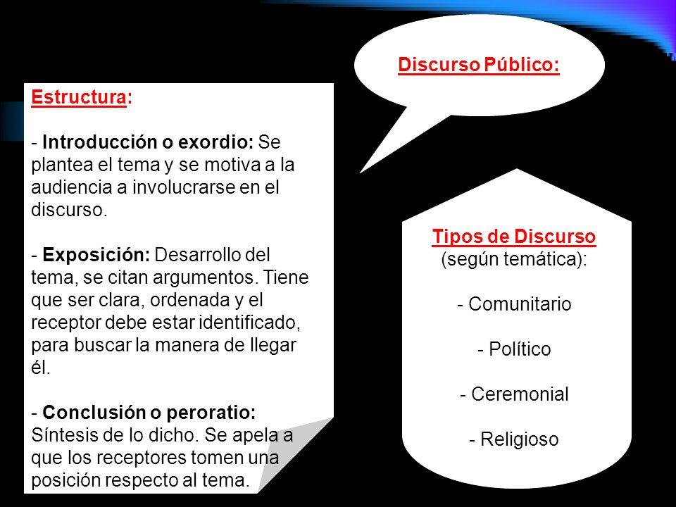 Tipos de Discurso (según temática):
