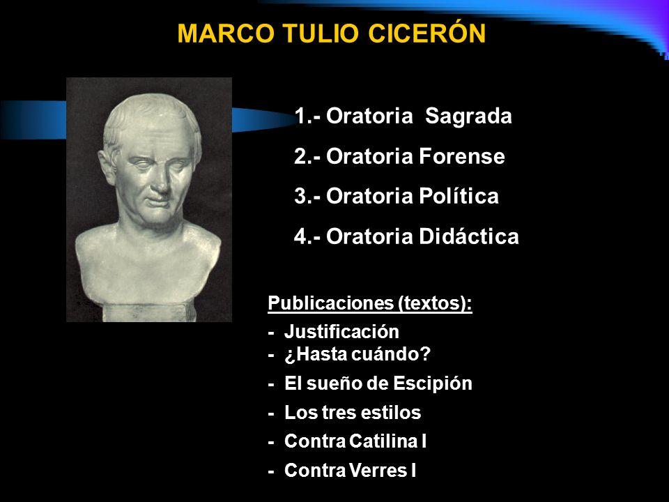 MARCO TULIO CICERÓN 1.- Oratoria Sagrada 2.- Oratoria Forense