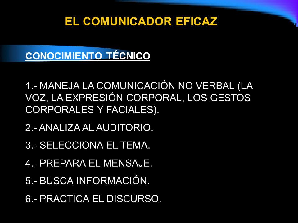 EL COMUNICADOR EFICAZ CONOCIMIENTO TÉCNICO