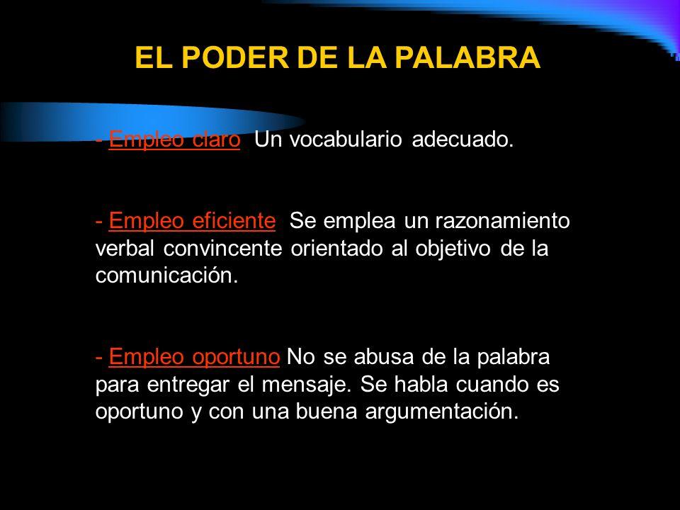 EL PODER DE LA PALABRA - Empleo claro: Un vocabulario adecuado.