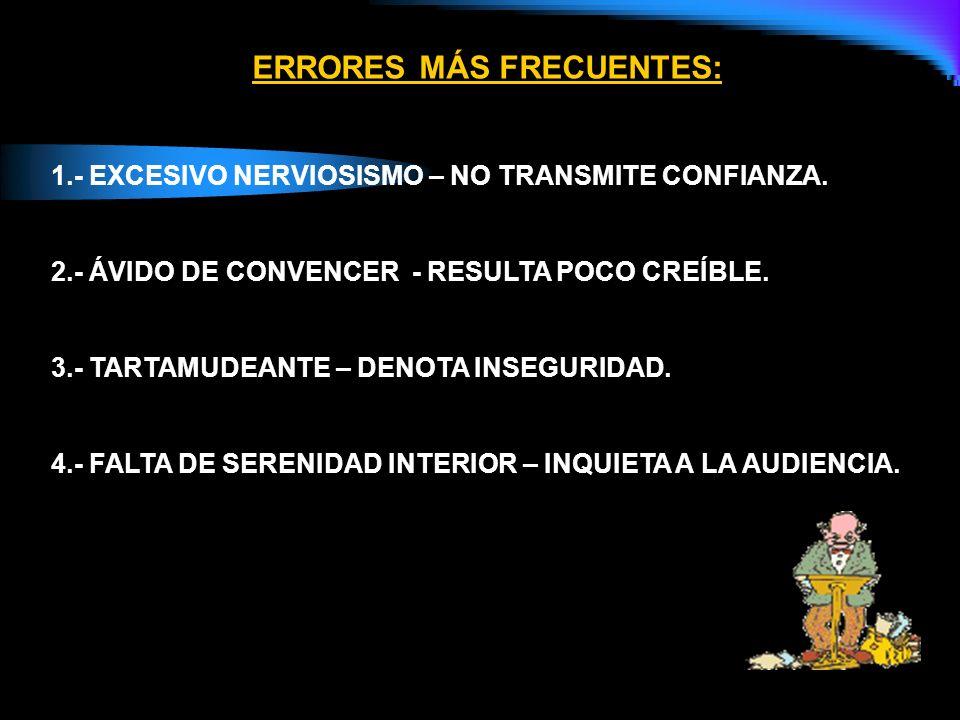 ERRORES MÁS FRECUENTES: