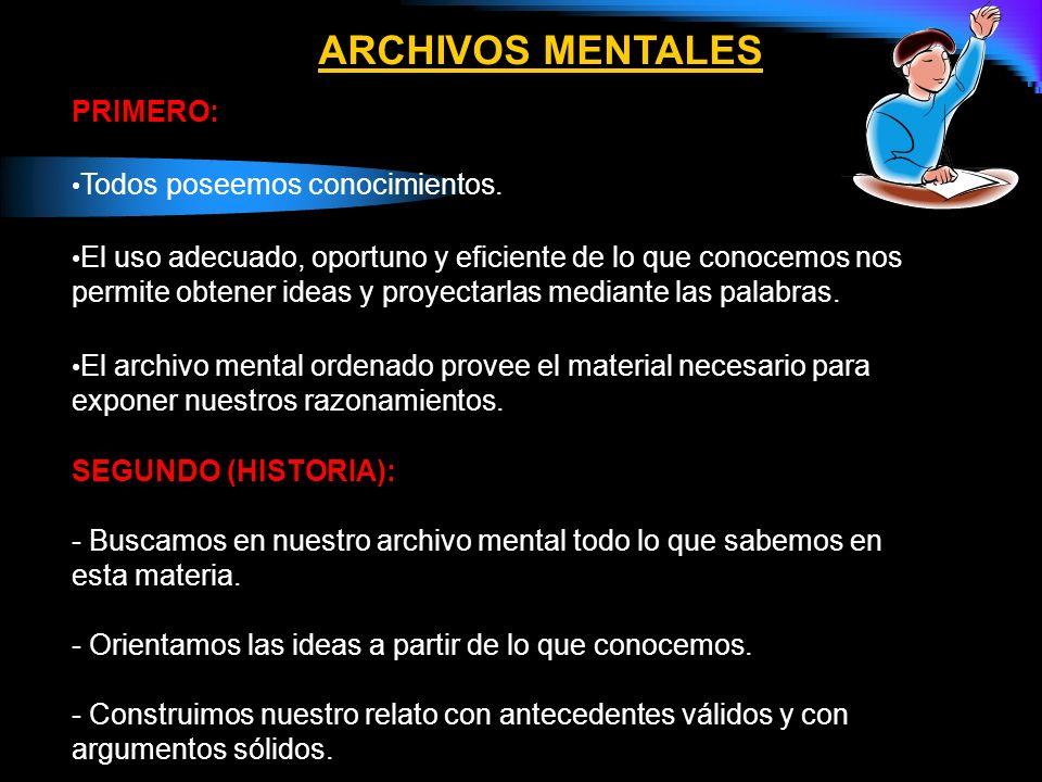 ARCHIVOS MENTALES PRIMERO: Todos poseemos conocimientos.