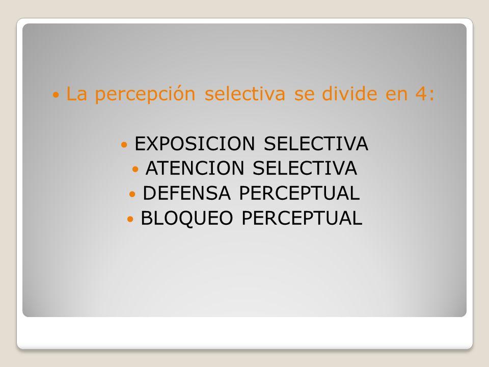 La percepción selectiva se divide en 4: