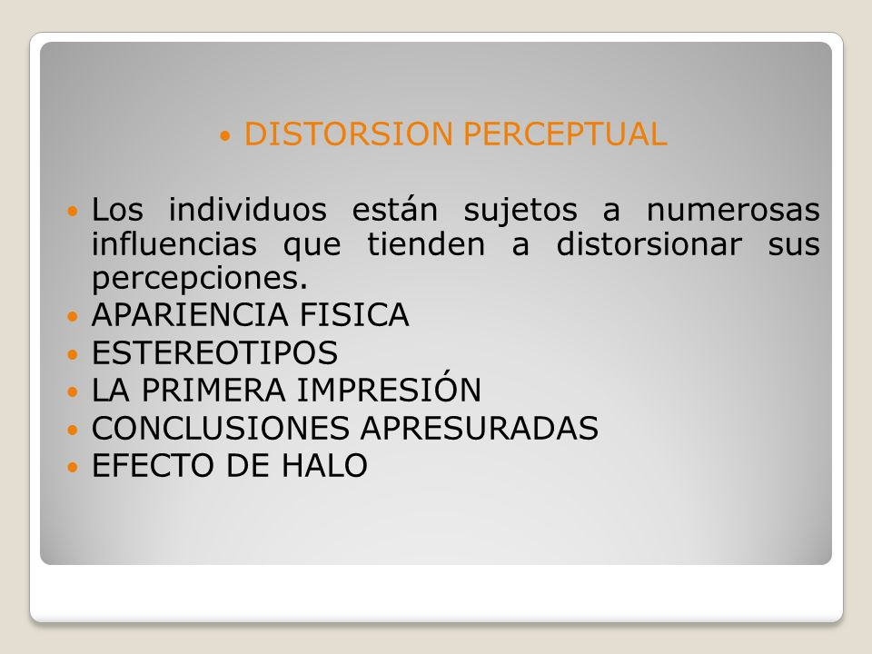 DISTORSION PERCEPTUAL