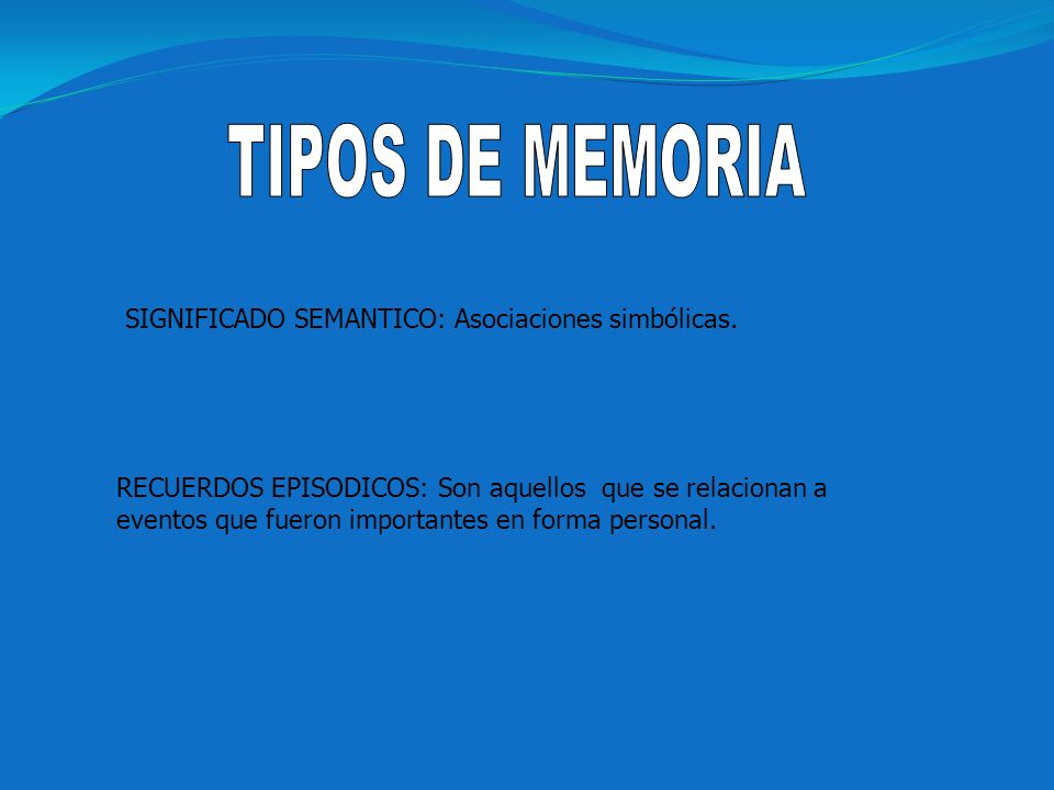 TIPOS DE MEMORIA SIGNIFICADO SEMANTICO: Asociaciones simbólicas.