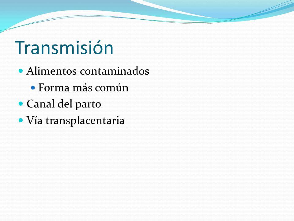Transmisión Alimentos contaminados Forma más común Canal del parto