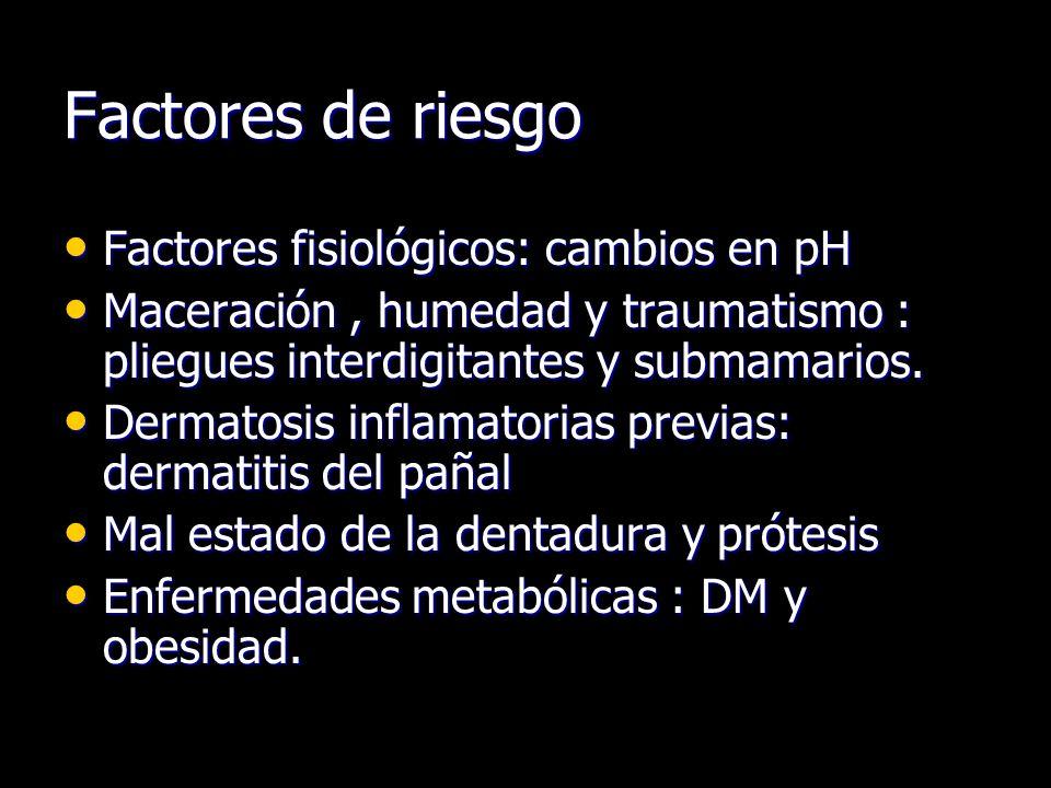 Factores de riesgo Factores fisiológicos: cambios en pH