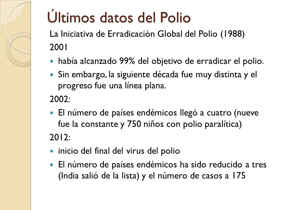 Últimos datos del Polio