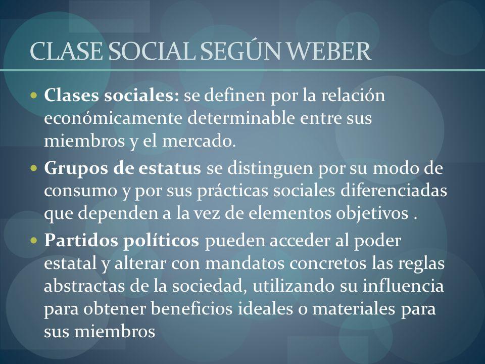 CLASE SOCIAL SEGÚN WEBER