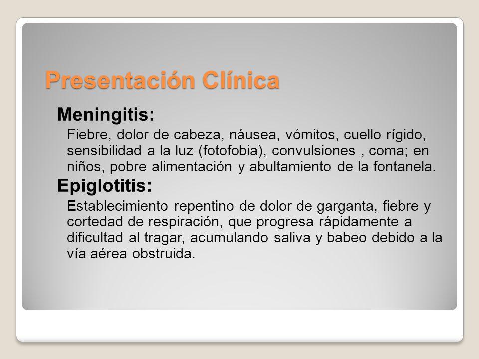 Presentación Clínica Meningitis: Epiglotitis: