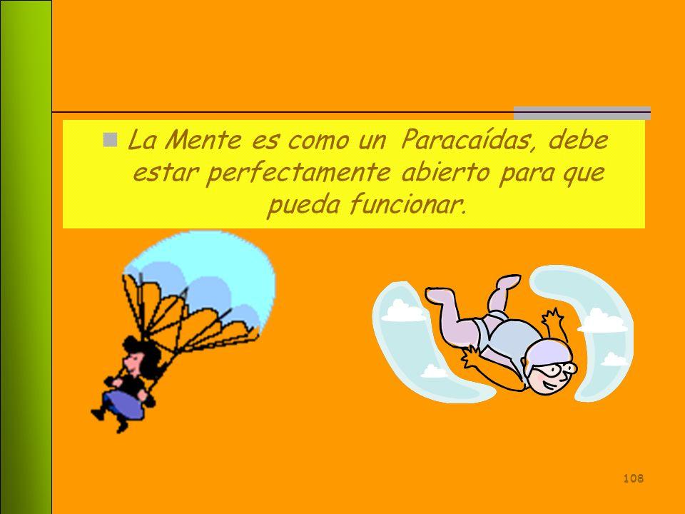 La Mente es como un Paracaídas, debe estar perfectamente abierto para que pueda funcionar.