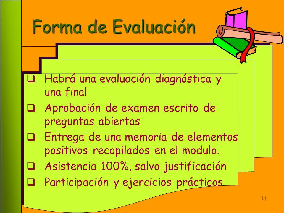 Forma de Evaluación Habrá una evaluación diagnóstica y una final