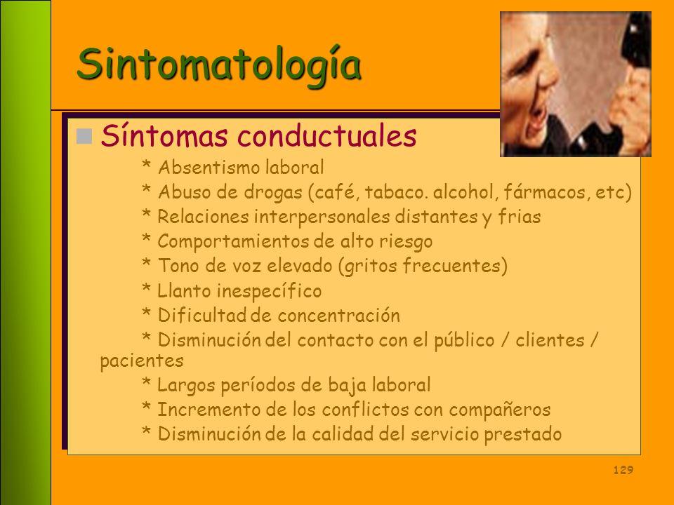 Sintomatología Síntomas conductuales * Absentismo laboral