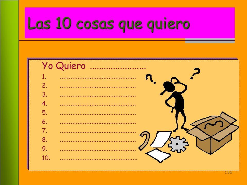 Las 10 cosas que quiero Yo Quiero ........................