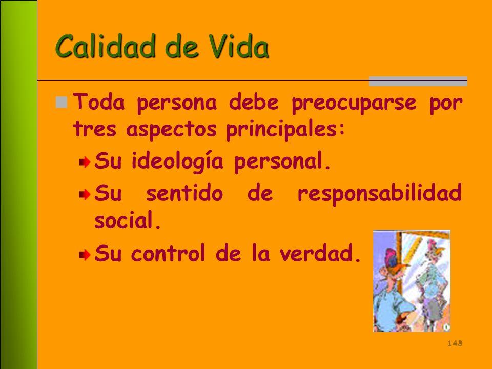 Calidad de Vida Su ideología personal.
