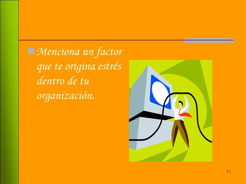 Menciona un factor que te origina estrés dentro de tu organización.
