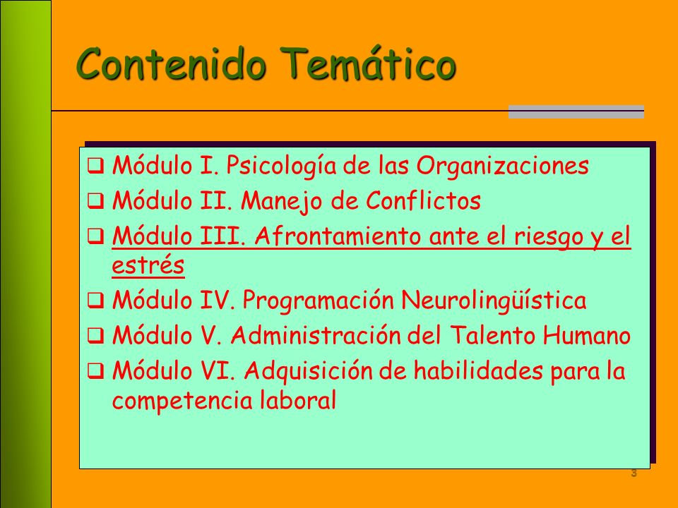 Contenido Temático Módulo I. Psicología de las Organizaciones