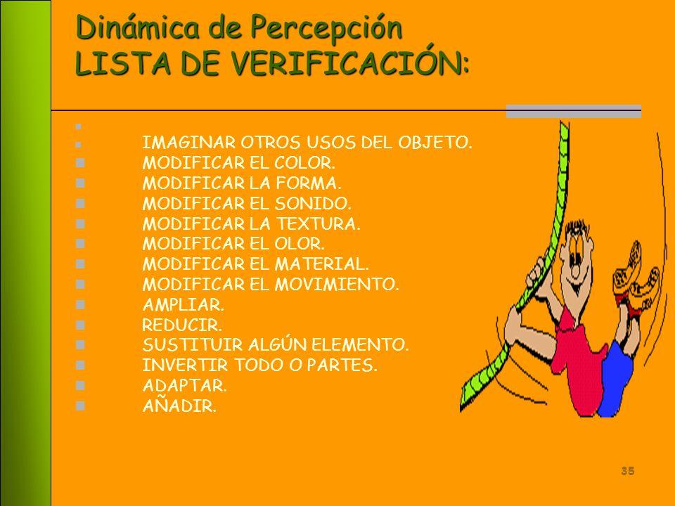 Dinámica de Percepción LISTA DE VERIFICACIÓN:
