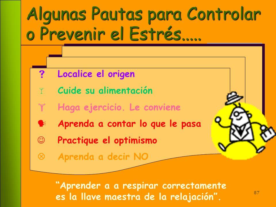 Algunas Pautas para Controlar o Prevenir el Estrés.....