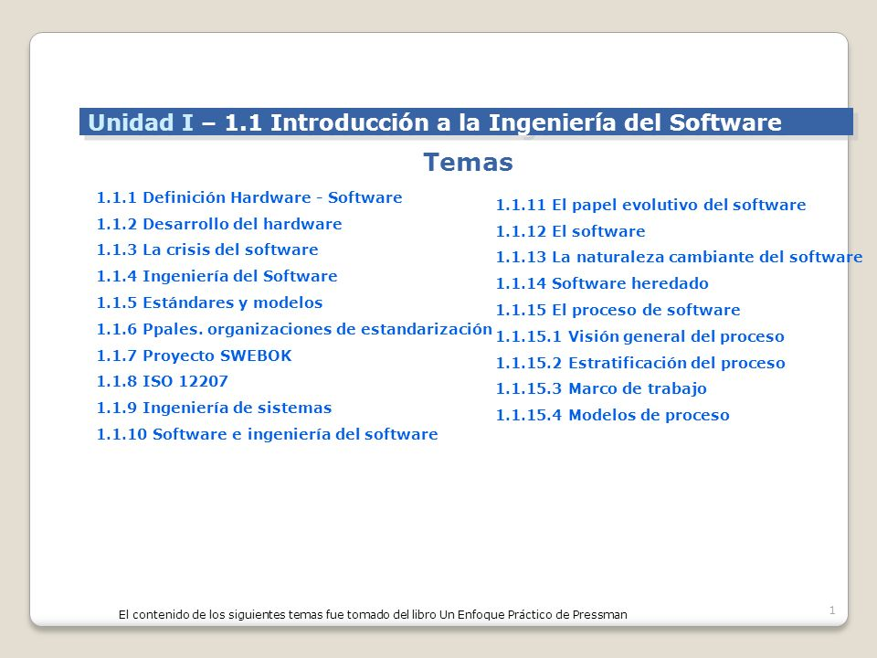 Temas Unidad I – 1.1 Introducción a la Ingeniería del Software