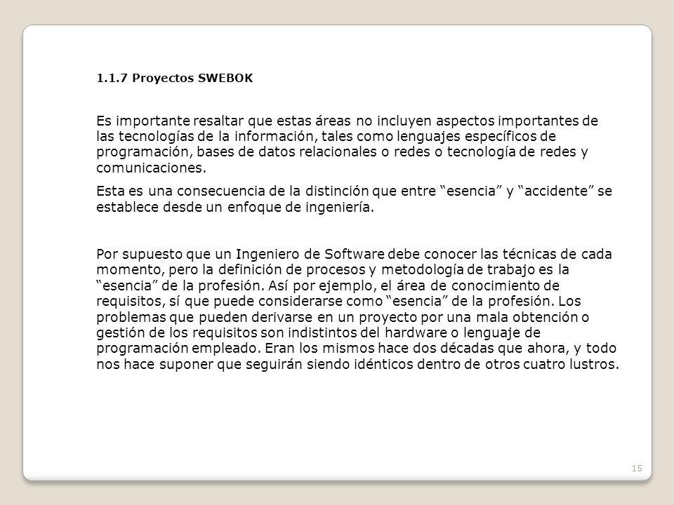 1.1.7 Proyectos SWEBOK