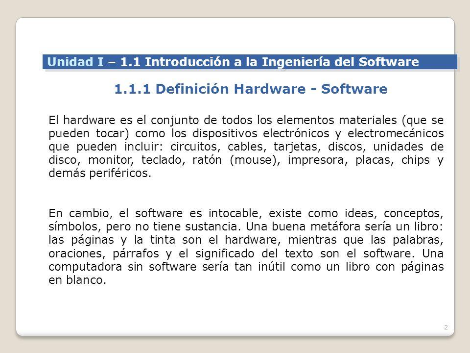 1.1.1 Definición Hardware - Software